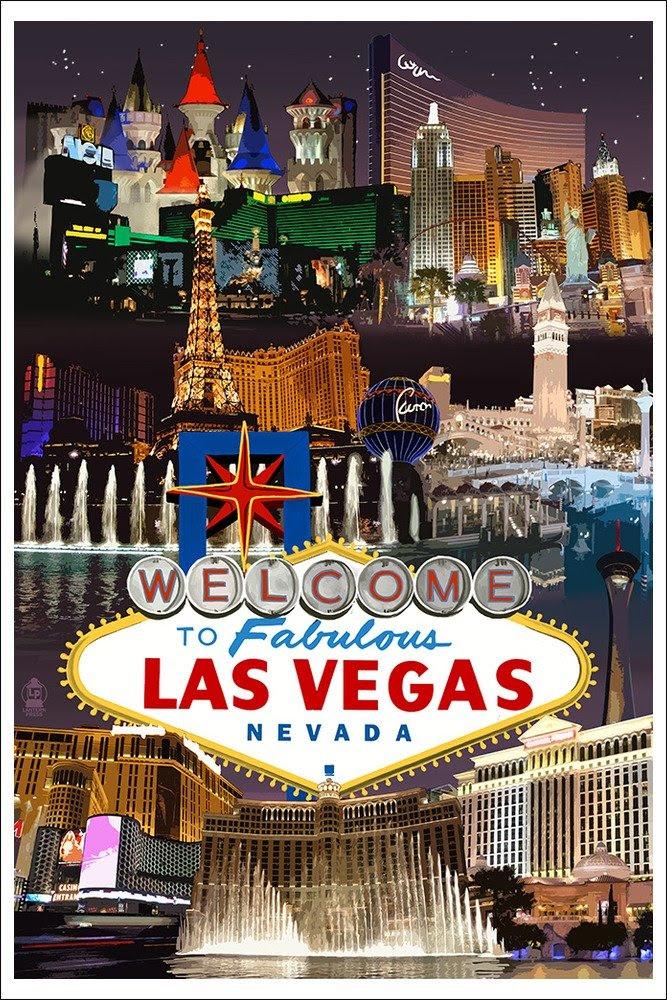 Amazon.com: Las Vegas Casinos and Hotels Montage (24x36 Giclee ...
