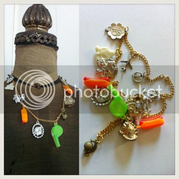 vintage plastic charm charms necklace