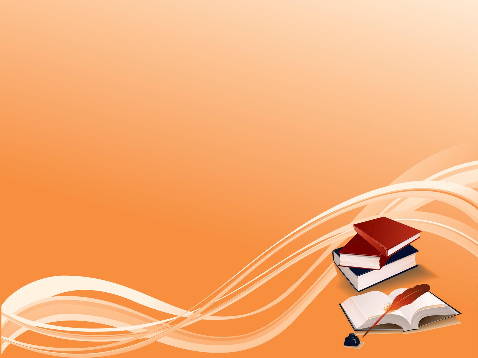 Books On Orange Bg PPT Backgrounds, Books On Orange Bg ppt ...
