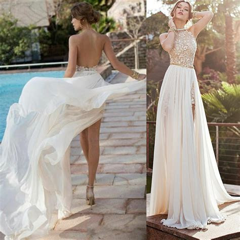 2015 Summer Beach Chiffon Wedding Dress Slit Lace Halter