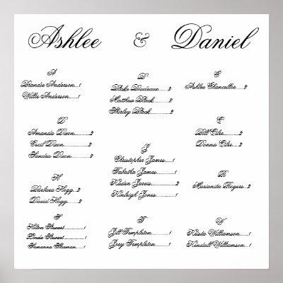 Wedding Seating Chart Poster by ashleedixon Wedding Seating Chart