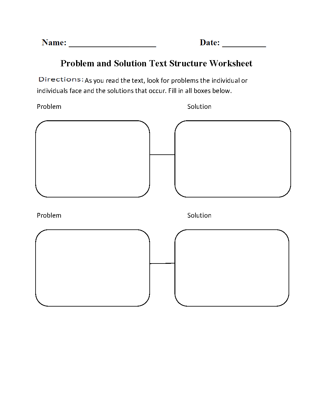 Text Structure Worksheets Problem And Solution Text Structure