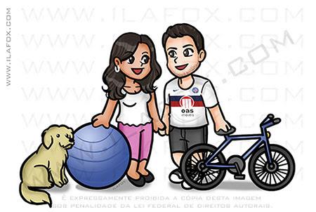 caricatura fofinha, mini caricatura, caricatura casal, casal com bicicleta, cachorrinho, torcedor Bahia, by ila fox