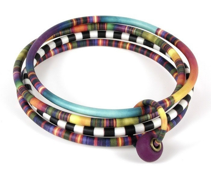 Four Bangle Bracelet with African Patterns - designforest