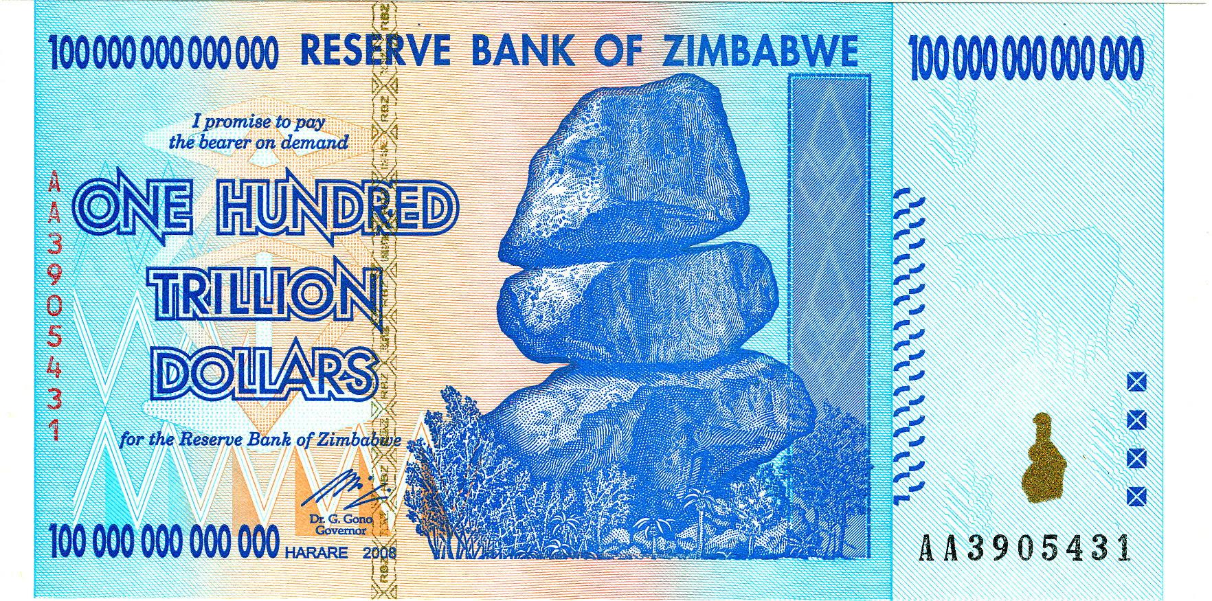 Zimbabwe $100 trillion, 2008 hyperinflation banknote