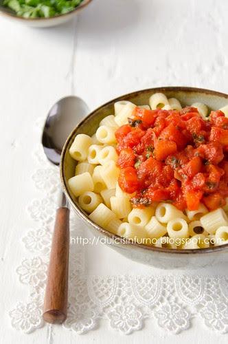 Pasta con Zucca e Pomodoro-Pasta with Pumpkin and Tomato Sauce