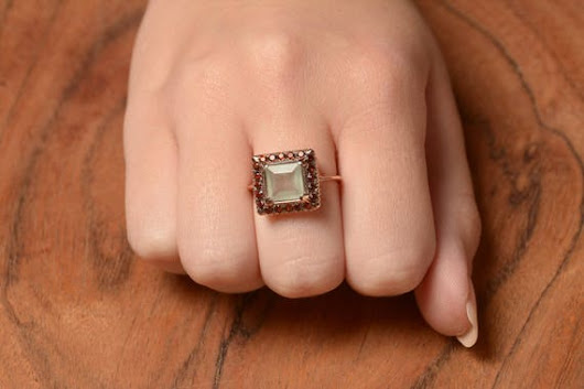 Aquamarine Square Ring with Rose Cut Diamonds in 14K Rose Gold