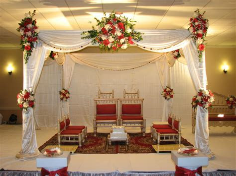 Traditional White and Red Wedding Indian Mandap for
