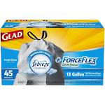 Glad ForceFlex + OdorShield Tall Kitchen Drawstring Trash Bags, Fresh Clean Scent, 13 Gallon - 45 count