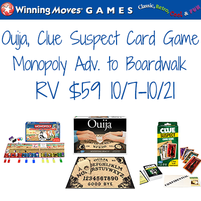 Winning Moves Ouija Clue Suspect Monopoly Adv to Boardwalk Giveaway. Ends 10/21