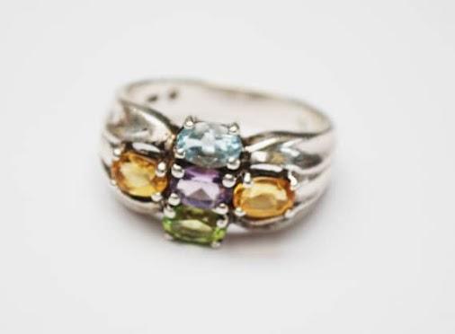serendipitytreasure.com #etsy shop: Multi gemstone ring - Sterling silver - Amethyst Citrine Peridot...