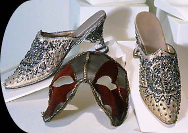 "Danielle's shoes in Ever After - handmade, ""miles"" of silver thread, etc; they are gorgeous"