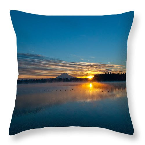 American Lake Sunrise Throw Pillow