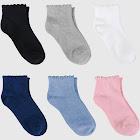 Girls' 6pk Ankle Socks - Cat & Jack Gray/Blue/Pink 3-10, Girl's