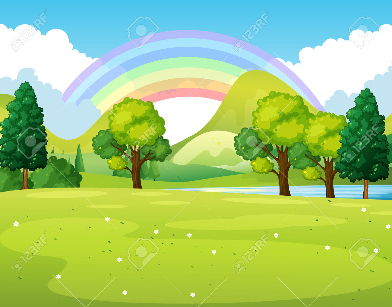 park clipart 45533174 Nature scene of a park with rainbow illustration Stock Vector park