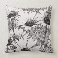Black and White Floral Design Throw Pillow throwpillow