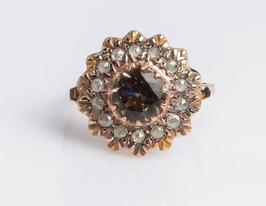 Smoky Topaz Vintage style Ring Flower shaped with Rose Cut