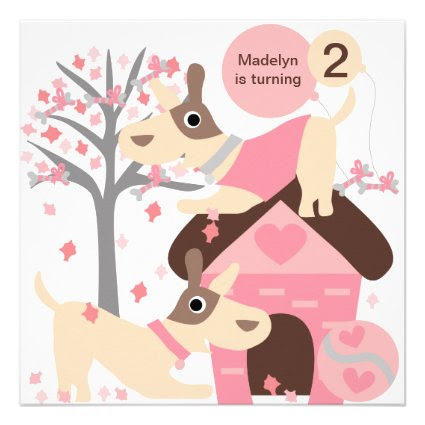 Pink Puppy Dog Custom Birthday Invitations