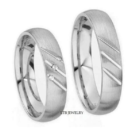 18K WHITE GOLD MATCHING HIS & HERS WEDDING BANDS RINGS