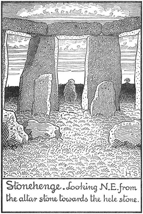 Stonehenge. Looking N.E. from the altar stone towards the hele stone.