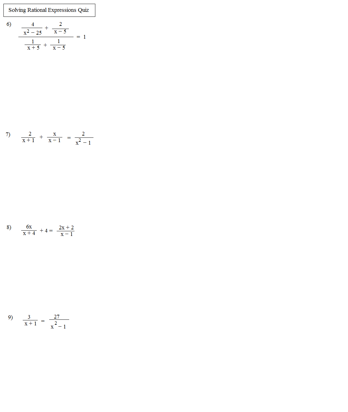 Solving Rational Equations Worksheet Multiple Choice  rational equations practice problems
