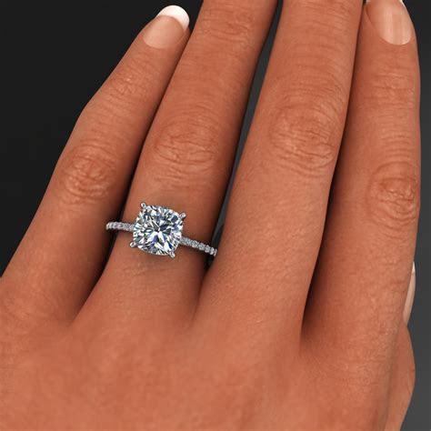 eliza ring   2.4 carat cushion cut NEO moissanite