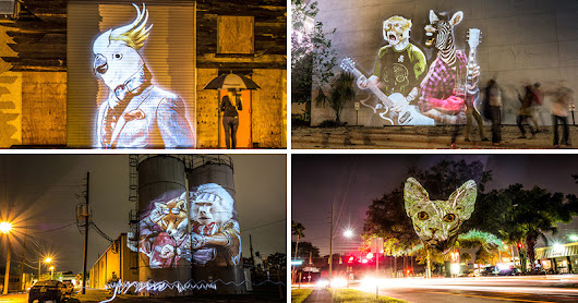 An artist has projected fashionable animals onto urban surfaces in Orlando, Florida