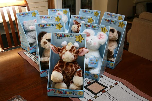Assortment of Webkinz. Jr. pets at the party