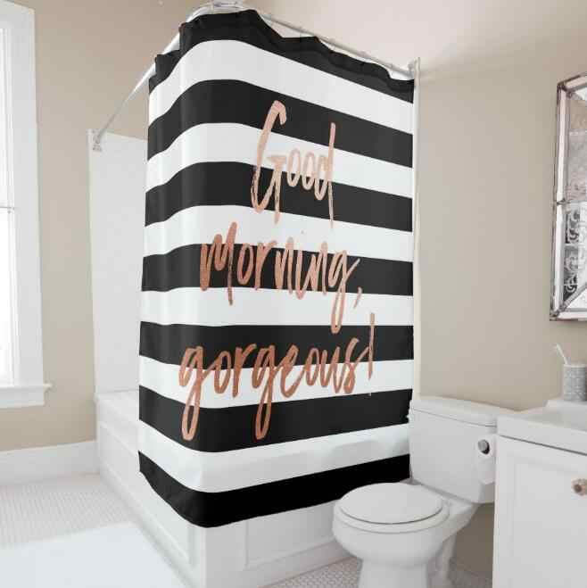 Modern Good Morning Gorgeous Rose Gold Stripe Shower Curtain Bathroom Curtain Classy Black White Bathroom Home Decor Waterproof Aliexpress