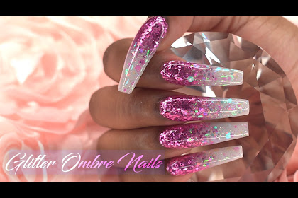 Pink And Red Glitter Ombre Nails