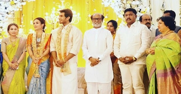 Rajinikanth's younger daughter Soundarya's pre-wedding reception pictures are surfacing on the internet