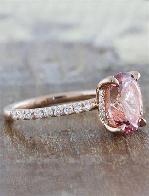 Delphine   Sapphire: Oval Pink Sapphire Engagement Ring