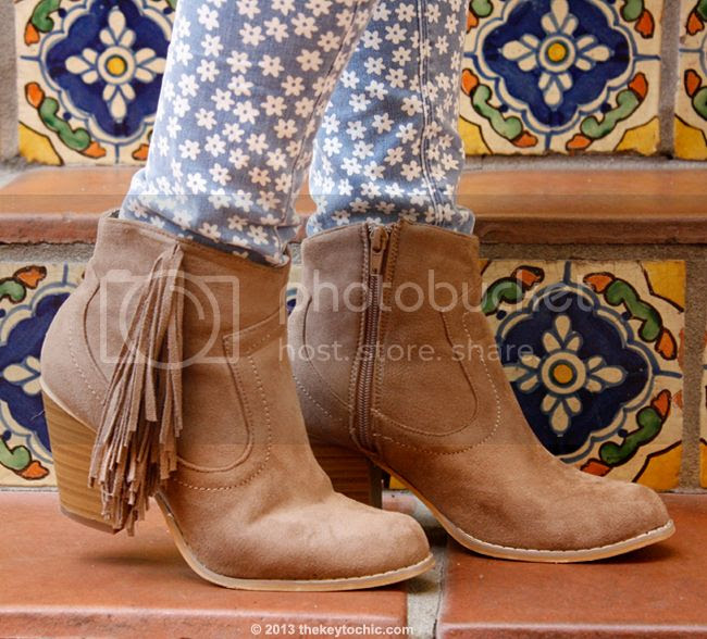 Wet Seal fringe ankle boots with Topshop Moto daisy floral jeans