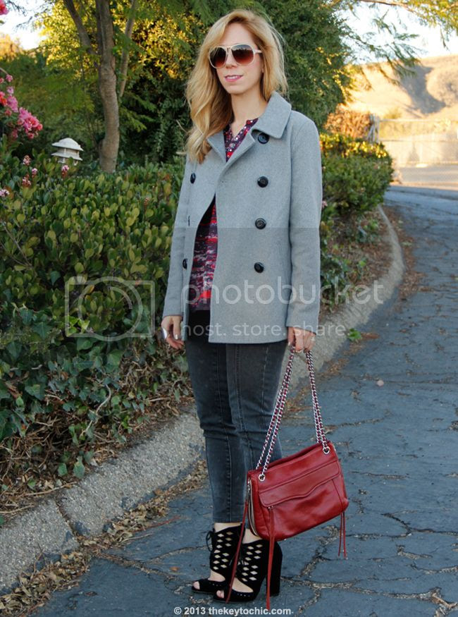LA fashion blogger The Key To Chic wears an Isabel Marant for H&M bouse, Mossimo skinny jeans, an Old Navy wool peacoat, Cutout heels c/o AMI Clubwear and a Rebecca Minkoff Swing handbag