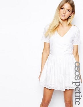 Image 1 ofASOS PETITE Exclusive Wrap Front Playsuit with Embroidered Short