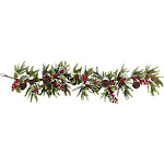 Nearly Natural 54 in. Holly Berry Garland in Green and Red | ShopLadder