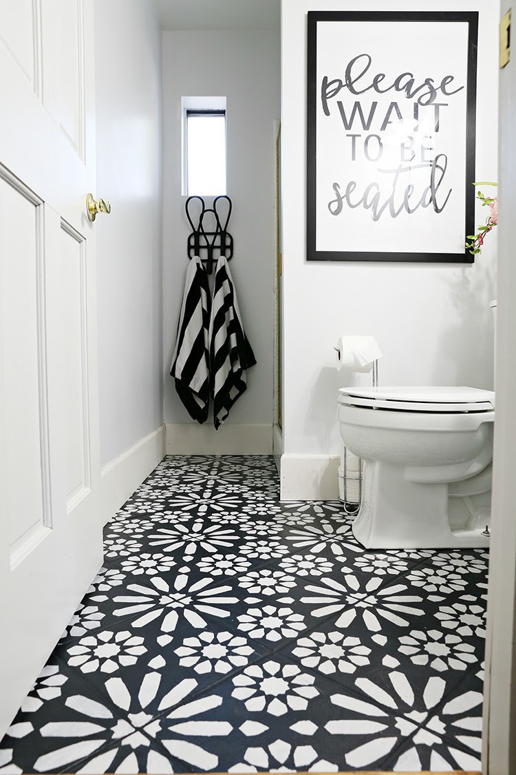 DIY Painted Stencil Bathroom Floor - Home Improvement Blogs