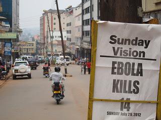 "Newspaper headline: ""Sunday Vision - Ebola kills 14 - Sunday, July 20, 2012"