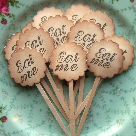 Eat Me - Alice in Wonderland Inspired Party Toppers - Vintage Inspired