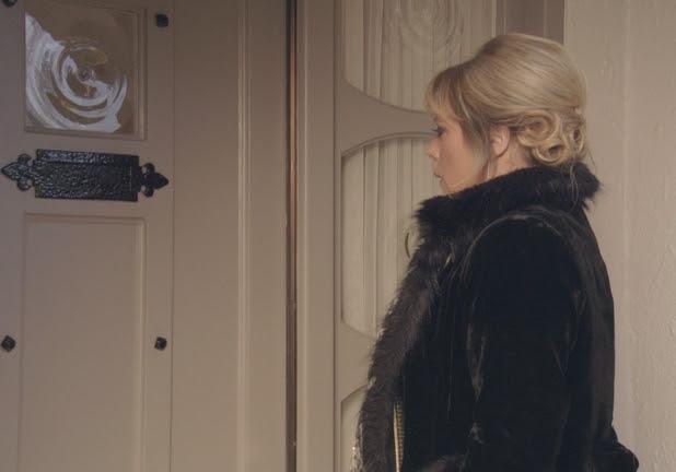 Sharon prepares to knock on her mother's door