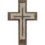 """15.8"""" x 10.2"""" Decorative Wooden Cross Wall Art Worn White/Brown - Stonebriar Collection"""