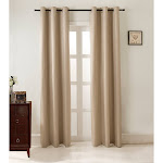 RT Designers Collection Juneau Jacquard 74 x 84 in. Room Darkening Grommet Curtain Panel Pair in Beige (Set of 2)