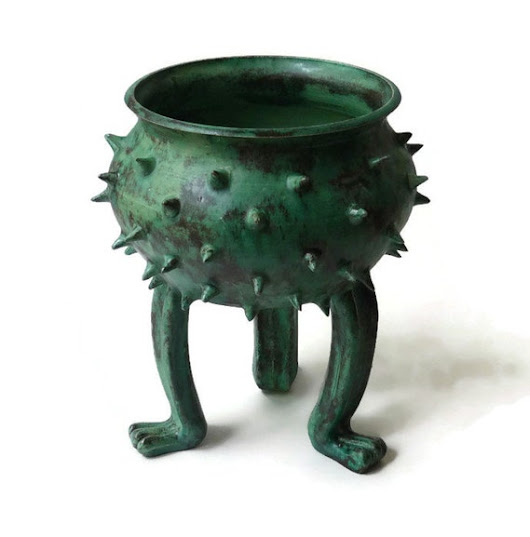 Patina Green Grouchy Planter Pot with Spikes and by JMNPOTTERY