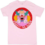 The Simpsons Krusty The Clown, Crew Neck, Short Sleeve T-Shirt, Light Pink