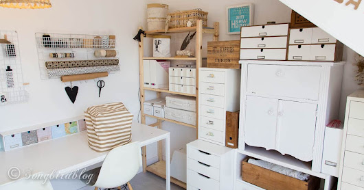 Craft room tour in a small attic space with creative storage solutions