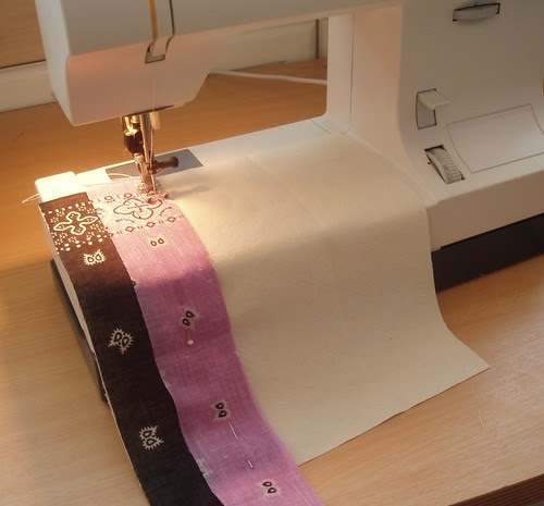 sewing stripes on background