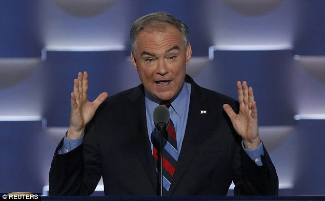 Virginia Sen. Tim Kaine accepted the vice presidential tonight onstage in Philadelphia using call-and-response to take on Donald Trump