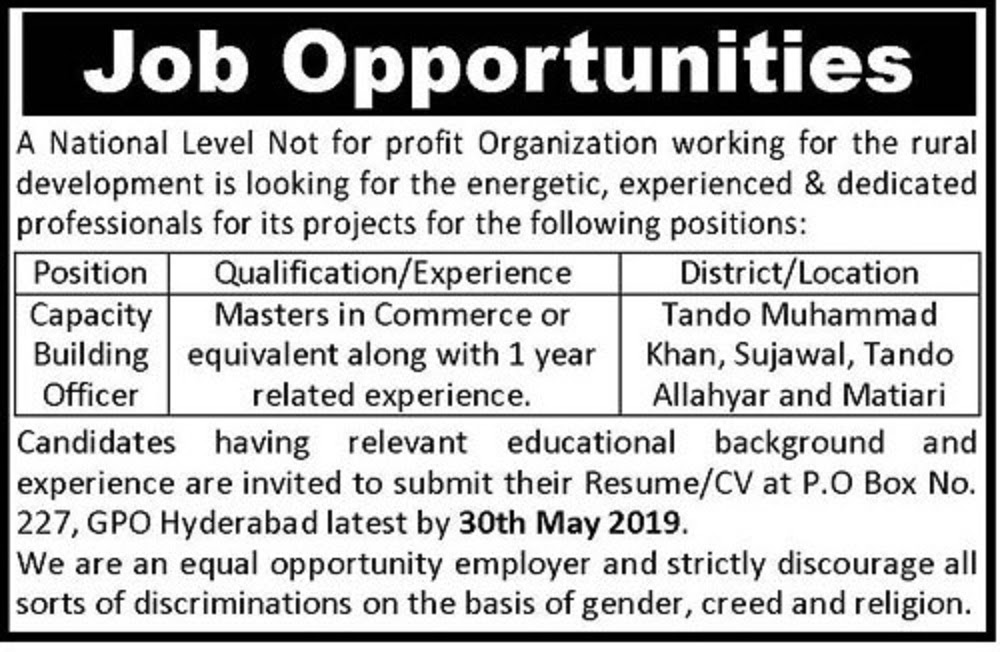 National Level Not for Profit Organization Jobs 2019 for Capacity Building Officers Latest