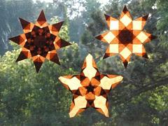 Trio of Brown Window Stars