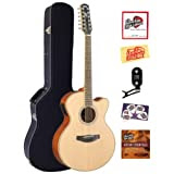 Yamaha CPX700-12 12-String Cutaway Acoustic-Electric Guitar Bundle with Hardshell Case, Tuner, Instructional DVD...